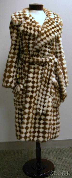 Vintage Reiss  Fabrizio BrownandWhite Checked Mink Fur Coat
