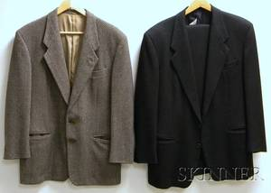Mens Giorgio Armani Black Wool Suit and Herringbone Jacket