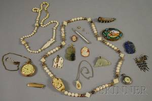 Group of Mostly Antique Bone and Hardstone Jewelry