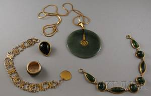 Small Group of 14kt Gold and Jade Jewelry