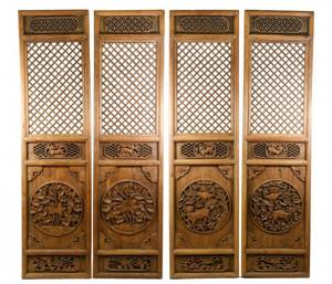 Four Chinese Carved Elm Wood Door Panels