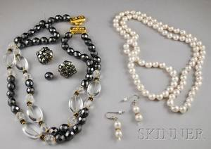 Freshwater Pearl Necklace and Earrings and a Glass and Crystal Necklace with Hematite Earrings