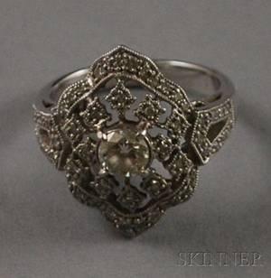 Art Deco Style Platinum and Diamond Ring