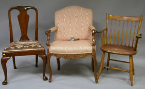 Windsor Rodback Armchair a British Colonial Queen Anne Style Teak Side Chair and a Louis XV Style Carved Walnut Armchair