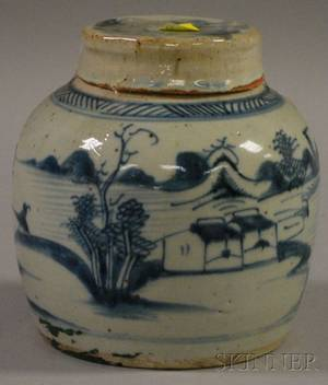 Chinese Canton Porcelain Ginger Jar with Cover