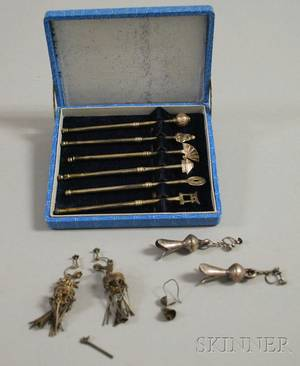 Two Pairs of Silver Earrings and Set of Six Asian Stirrers