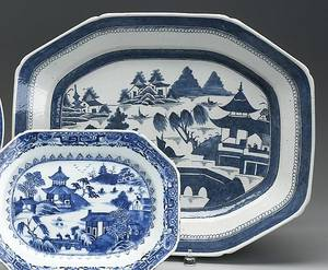 Chinese export blue and white Canton platter 19th c