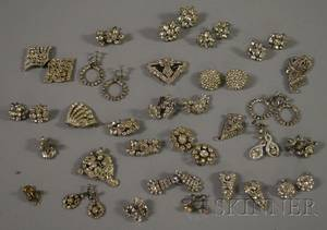 Group of Mostly Rhinestone and Paste Costume Earrings and Clips