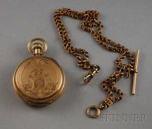 Goldfilled Illinois Watch Co Pocket Watch and 14kt Gold Watch Chain