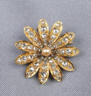 Antique 18kt Gold Seed Pearl and Diamond Flower PendantBrooch