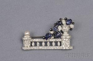 Art Deco Platinum Carved Sapphire Onyx and Diamond Brooch
