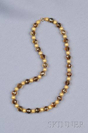 14kt Gold Bead and Citrine Necklace