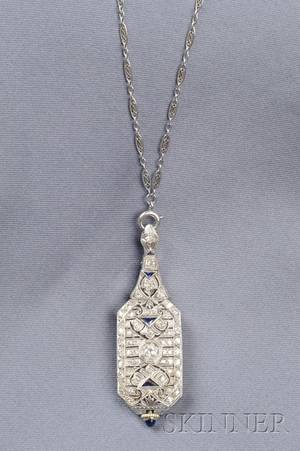 Art Deco Platinum and Diamond Pendant Watch