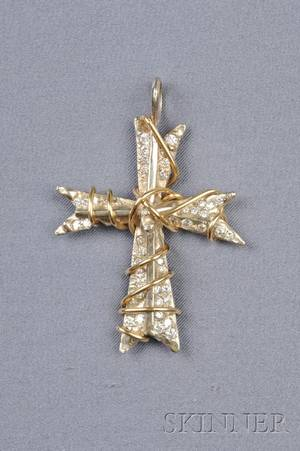 14kt Bicolor Gold and Diamond Cross Pendant
