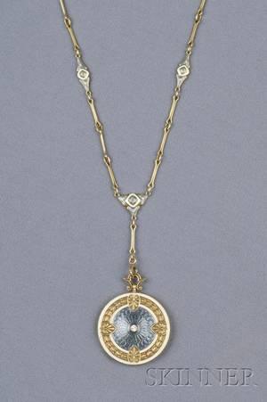 Edwardian 14kt Gold Enamel and Diamond Pendant Necklace Whiteside  Blank