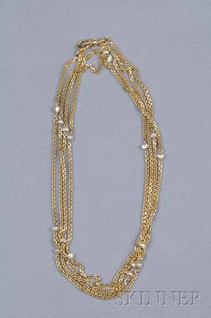 14kt Gold and Freshwater Pearl Watch Chain
