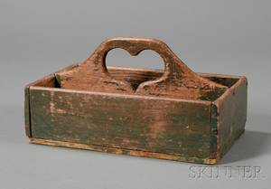 Greenpainted Wooden Cutlery Box with Cutout Heartshaped Handle