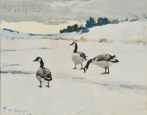 Frank Weston Benson American 18621951 Canada Geese in the Snow