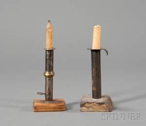 Two MakeDo Iron Hogscraper Candlesticks