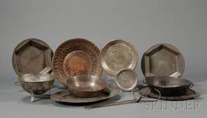 Group of Eleven Tin Iron and Pewter Kitchen Items
