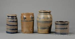 Three Small Cobaltdecorated Stoneware Jars and a Small Crock