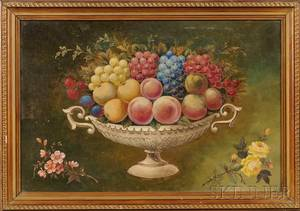 American School 19th Century Still Life of Fruit in a Compote