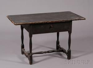 Blackpainted Pine and Maple Tavern Table