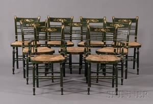 Set of Nine Greenpainted and Freehandgilt Fancy Chairs Including Two Armchairs