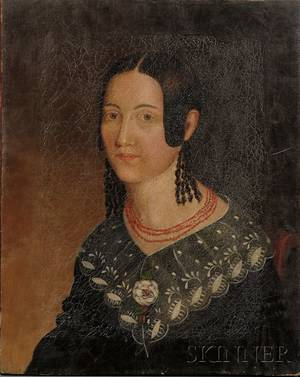 American School 19th Century Portrait of a Young Woman Wearing a Coral Beaded Necklace