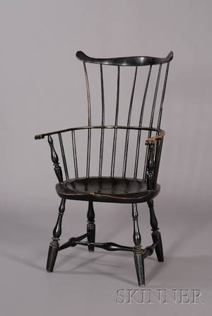 Blackpainted Windsor Fanback Armchair