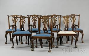 Set of Eight Chippendalestyle Mahogany Dining Chairs