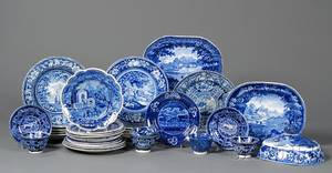 Group of Assorted Blue Transferdecorated Staffordshire Pottery Table Items