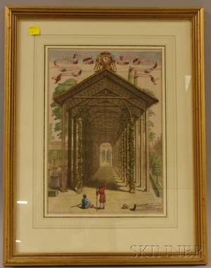 Framed Handcolored Etching of an Orangerie