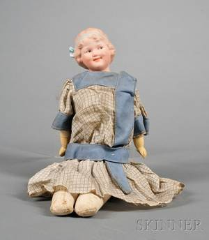 Heubach Bisque Shoulder Head Smiling Character Doll and German Composition Partial B