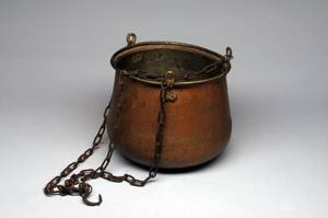 Tapering Copper Pot on Chains