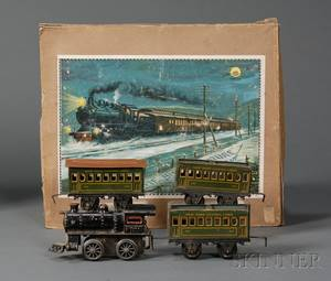 Boxed Bing O Gauge Lithographed Tin Train Set