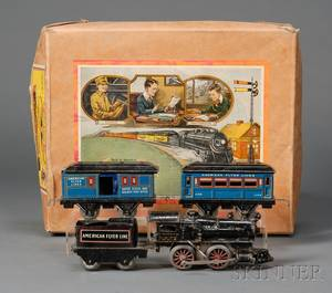 Boxed American Flyer O Gauge Lithographed Tin Train Set