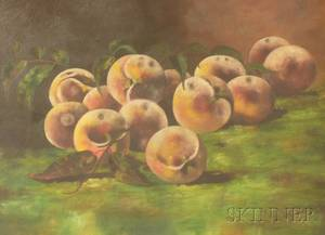 Framed 20th Century American School Oil on Canvas Still Life with Peaches