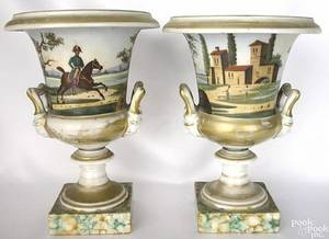 Pair of Paris porcelain urns early 19th c