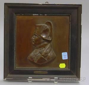 Black Lacquer Framed French Bronze Profile Portrait Plaque Napoleon Empereur