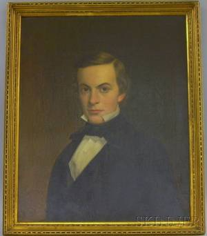 Framed American School 19th Century Oil on Canvas Portrait of a Gentleman