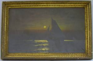 Framed American School Oil on Canvas Nighttime Sailing Scene