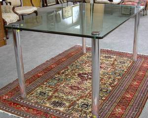 Modern Glass and Chrome Plated Dining Table