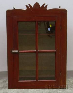 Country Redstained Glazed Cherry Wall Cupboard