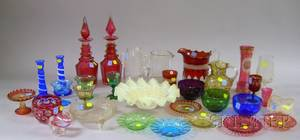 Thirty Pieces of Assorted Victorian Mostly Colored Art Glass Table Items