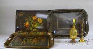 Three Paint Decorated and Stenciled Tin Trays an Amber Hobnail Glass Table Lamp and a Brass Candlestick Table Lamp