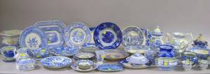 Approximately Fiftyfour Pieces of 19th Century English Blue and White Transfer Decorated Staffordshire Tableware