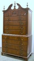 F  G Furniture Co Georgianstyle Carved Mahogany and Mahogany Veneer Chest on Chest