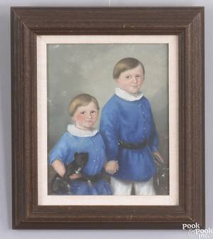 Pastel double portrait of 2 young boys 19th c