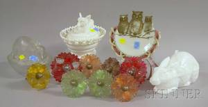 Eight Colored and Painted Pressed Glass Curtain Tiebacks Three Figural Glass Butter Dishes and an Owl Figural Milk Glass Tray